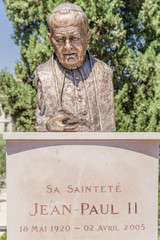 Nice, France. Bust of Pope John Paul II