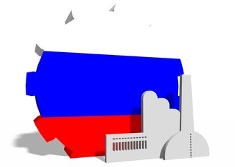 national flag of the russia on gear and factory icon