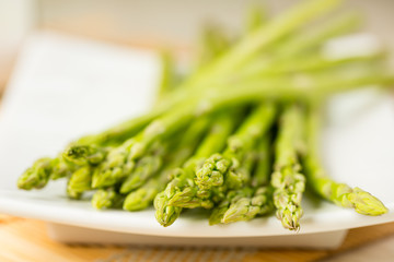 Bunch of fresh asparagus tie-up