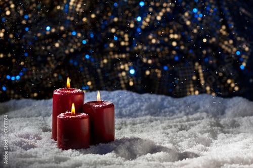 Keuken foto achterwand Bossen Candles in snow