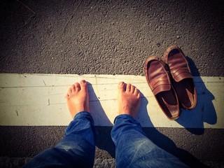 Barefoot on street