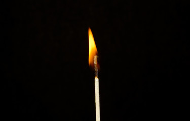 one match burning red flame