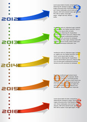 Vector infographic timeline report with colored stickers