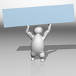 3D Character with a blue board