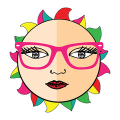 Sun with pink glasses