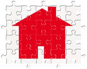 maison rouge sur puzzle