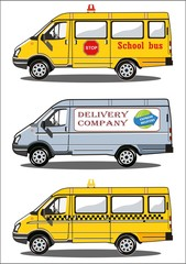 Transports, taxi, school bus