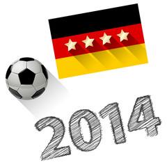 Deutschland als Fußball WELTMEISTER 13.07.2014 Weiß Scribble