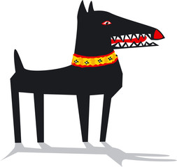 Black dog , vector illustration