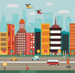 Big City street. Vector