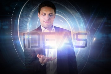 Businessman presenting the word ideas