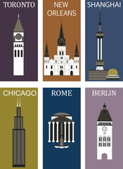 Famous cities 2. Vector