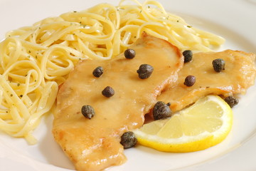 Lemon and capers chicken with noodles