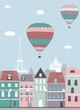 Hot air balloons over the Paris. - 67614199