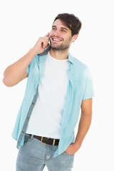 Happy casual man talking on phone