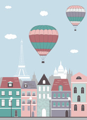 Hot air balloons over the Paris.