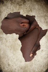African Woman hands Map