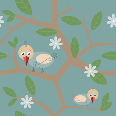 vector seamless background with birds and tree branches