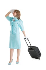 Stewardess in blue uniform with her bag