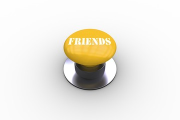 Friends on blue push button