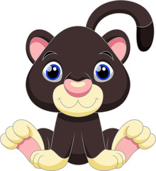 Cute black panther cartoon