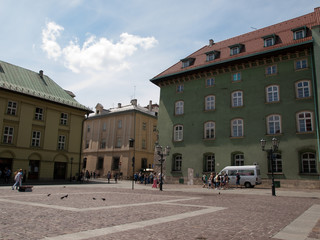 View of buildings at Little Market Square in Krakow