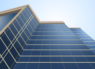 Glass windows on building architecture background