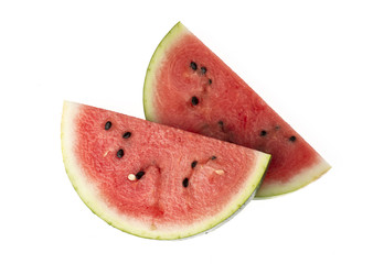 slices of water melon on white background