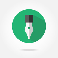Flat pen glass icon.