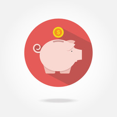 Flat piggy bank icon.