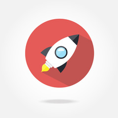 Flat rocket icon.