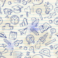 Back to school seamless pattern on a exercise book
