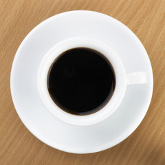 Black Coffee in Top View over Table