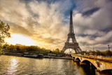 Eiffel Tower with boat on Seine in Paris, France © samott