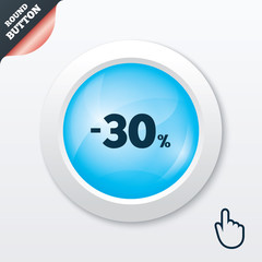 30 percent discount sign icon. Sale symbol.