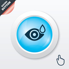 Eye with water drop sign. Drip into the eyes.
