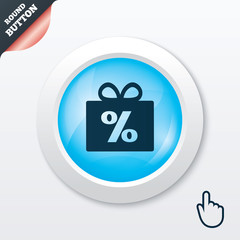 Gift box sign discount icon. Present symbol.