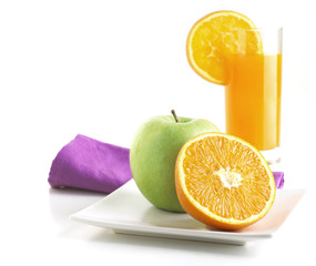 Healthy Breakfast with orange and apple