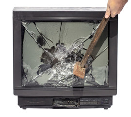 hammer smashes TV