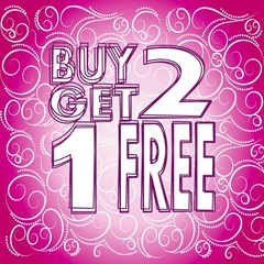 buy two get one free symbol on fresh pink background