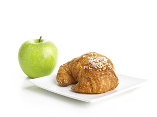 Croissant and Green Apple
