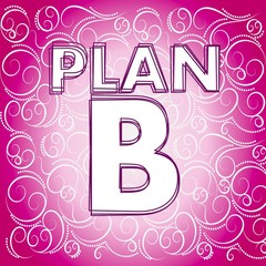plan b symbol on fresh pink background