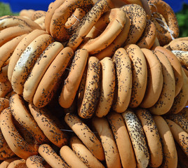 Appetizing bagels with poppy close up
