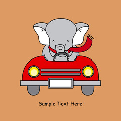 Greeting card. elephant in a car