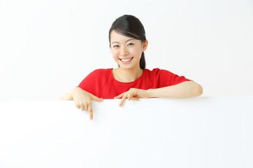 ホワイトボード・若い女性
