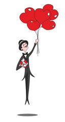 groom in a tuxedo on the red flying balloons hearts