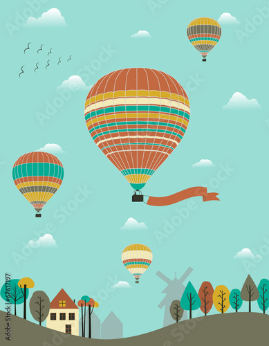 Hot air balloons over the country. - 67617197