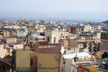 View of city of Cagliari.Sardinia.Italy