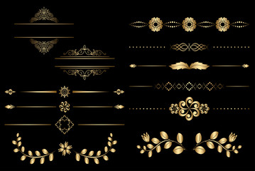 golden design elements with gradient - vector