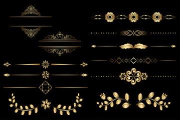 golden design elements with gradient - vector
